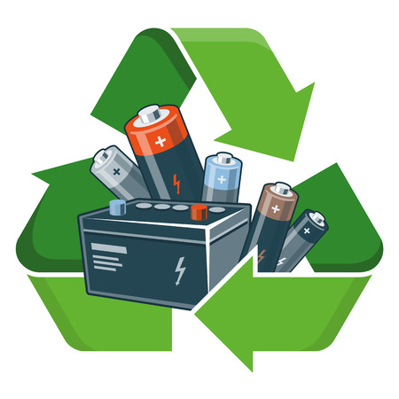 Gebruikte batterijen met groene recycling symbool in cartoon-stijl. Geïsoleerde vector illustratie op witte achtergrond. Afgedankte Elektrische en Elektronische Apparatuur WEEE concept. Vector Illustratie