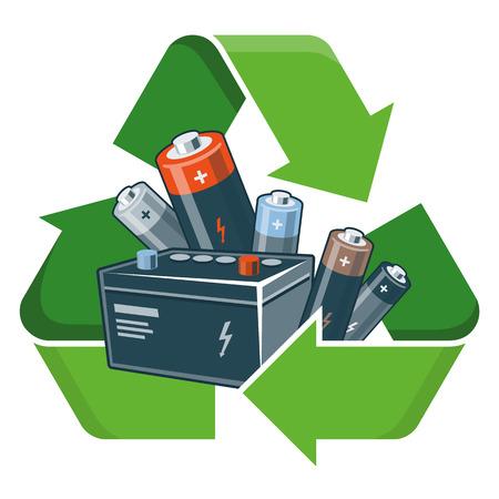 reciclar basura: Las pilas usadas con el símbolo de reciclaje verde en el estilo de dibujos animados. Ilustración vectorial aislados en fondo blanco. Residuos de Aparatos Eléctricos y Electrónicos RAEE concepto.