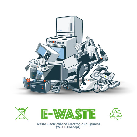recycle symbol: The waste electrical and electronic equipment pile. Computer and other obsolete electronic waste stack. Waste management concept. Illustration