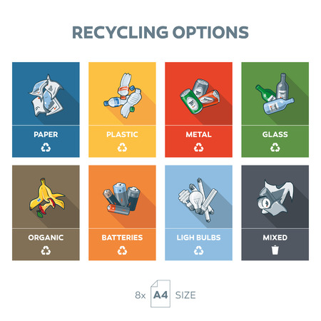 Illustration of 8 recycling garbage categories on A4 pages format size for easy output. Categories includes paper, metal, can, glass, bottle, plastic, organic, food, batteries, light bulbs and general mixed waste on color shape bacgkround. Waste segregati 일러스트
