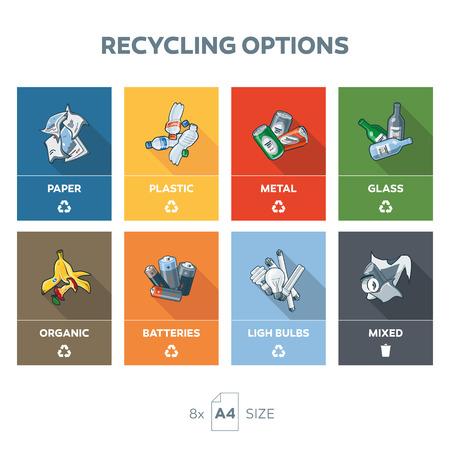 reciclar: Ilustración de 8 categorías de reciclaje de basura en tamaño A4 formato de páginas para la salida fácil. Categorías incluye papel, metal, lata, vidrio, botella, plástico,, comida, baterías, bombillas orgánicos y residuos mezclados general sobre la forma de color bacgkround. Segregati Residuos