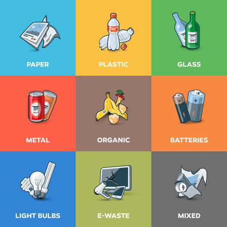 recycle waste: Illustration of trash categories with organic, paper, plastic, glass, metal, e-waste, batteries, light bulbs and mixed waste. Waste types segregation recycling management concept.