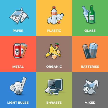 Ilustración de categorías de basura con orgánicos, papel, plástico, vidrio, metal, desechos electrónicos, baterías, bombillas y desechos mezclados. Concepto de gestión de reciclaje de segregación de tipos de residuos.