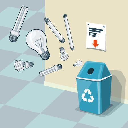 waste management: Illustration of used light bulbs and recycling bin for them. Light bulbs and fluorescent lamps are in the air and falling into the blue trash bin standing near the wall. Waste management concept.