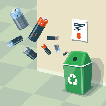 Illustration of used batteries and recycling bin for them. Batteries are in the air and falling into the green trash bin standing near the wall. Waste management concept. Stock Illustratie