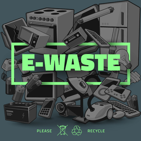 The waste electrical and electronic equipment pile. Computer and other obsolete used electronic waste stack as dark backround with green title. Waste management concept.