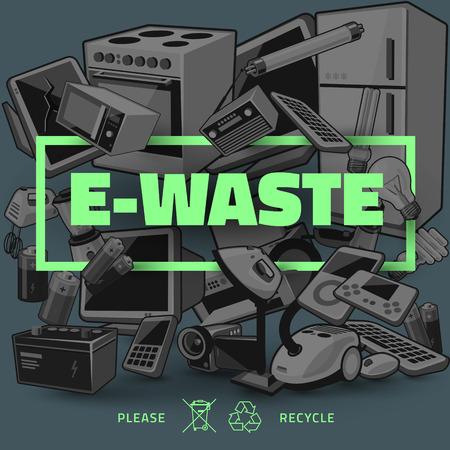 Die Elektro- und Elektronikgeräte-Haufen. Computer und andere veraltete gebrauchte Elektronikschrott-Stack als dunklem Hintergrund mit grünen Titel. Abfallwirtschaftskonzept. Vektorgrafik
