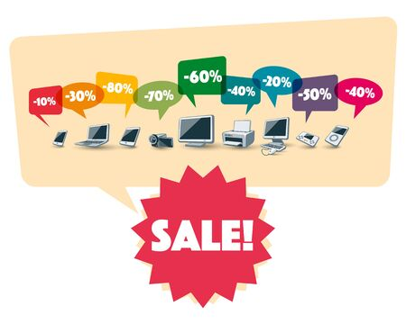moltiplicare: Illustration of electronic devices with colorful speech multiply bubbles with discount percentage. Red purple sale badge label below it. Vettoriali