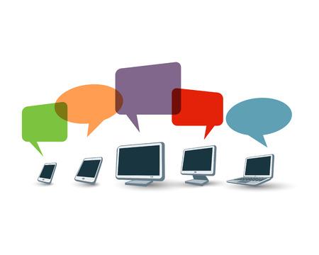 multiplicar: Ilustración de los dispositivos electrónicos con burbujas coloridas del discurso se multiplican con el porcentaje de descuento. Vectores