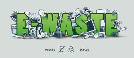 Die elektrischen und elektronischen Geräten, die Stapel um das Grün E-Waste-Zeichen. Computer und andere veraltete gebrauchte Elektronikschrott-Stack auf Titel. Abfallwirtschaftskonzept. Graffity und Street Art Gefühl. Vektorgrafik