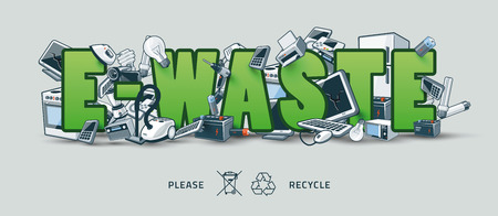 The waste electrical and electronic equipment creating pile around the green E-Waste sign. Computer and other obsolete used electronic waste stack on title. Waste management concept. Graffity and street art feeling.