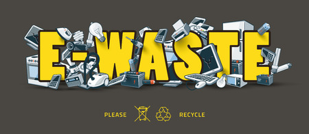 The waste electrical and electronic equipment creating pile around the E-Waste sign. Computer and other obsolete used electronic waste stack on title. Waste management concept. Graffity and street art feeling. Illustration