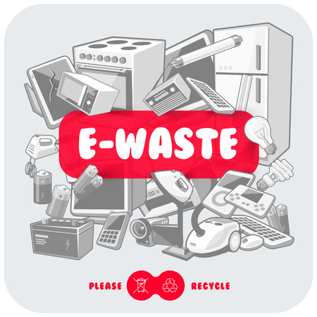 Gray waste electrical and electronic equipment pile. Computer and other obsolete used electronic waste stack as light backround with red title box. Please recycle concept.