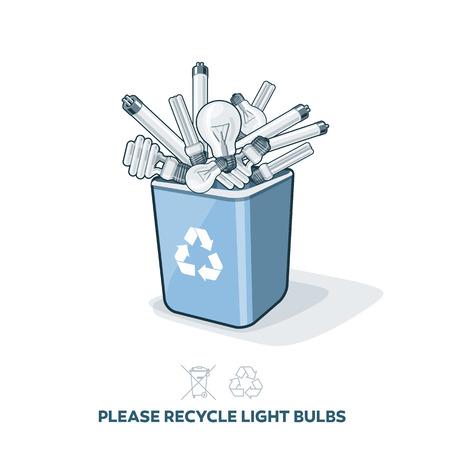 separacion de basura: Bombillas usadas en azul de reciclaje contenedor de basura en el estilo de dibujos animados. Concepto de gestión de la separación de los desechos electrónicos. Vectores