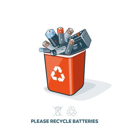Used batteries in red recycling trash bin in cartoon style. E-waste separation management concept.
