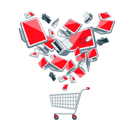 Illustration of electronic devices in heart shape organization above an empty metal wire push shopping cart.