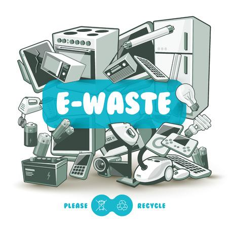 Déchets tas de matériel électrique et électronique. Ordinateur et autre pile de déchets obsolètes électronique usagé comme backround la lumière avec la boîte de titre rouge. S'il vous plaît recycler concept.