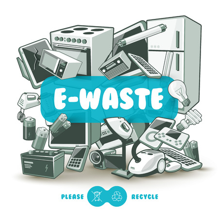 Waste electrical and electronic equipment pile. Computer and other obsolete used electronic waste stack as light backround with red title box. Please recycle concept.
