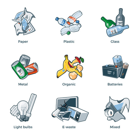 glass recycling: Illustration of isolated trash categories with organic, paper, plastic, glass, metal, e-waste, batteries, light bulbs and mixed waste on white background. Waste types segregation recycling management concept.
