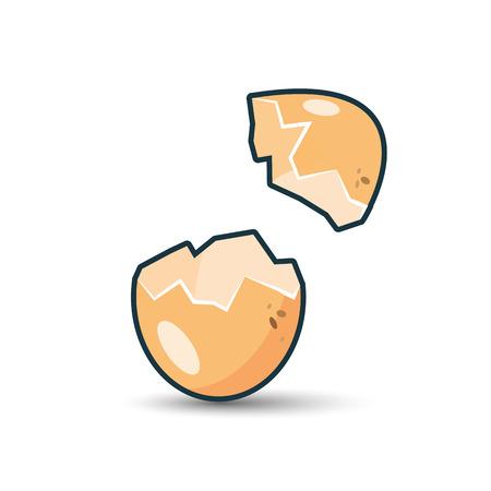 basura organica: Ilustración de aislado cáscara de huevo quebrada en el fondo blanco con la sombra.