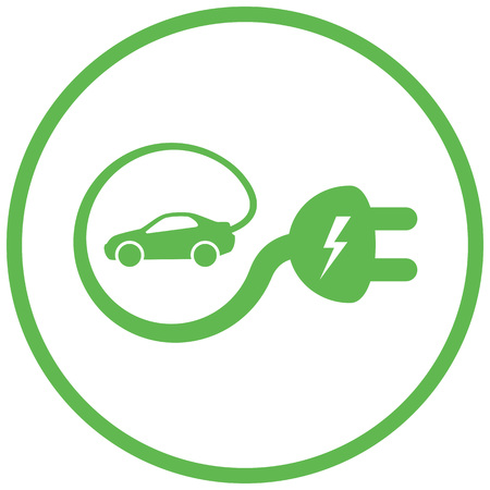 Geïsoleerde elektrische auto auto opladen bord met kabel rond het maken van e-sign Stock Illustratie
