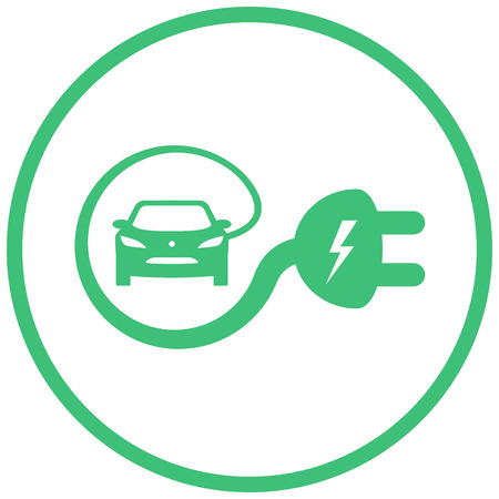 charge: Isolated electric vehicle car charging sign with cable around it creating e-sign