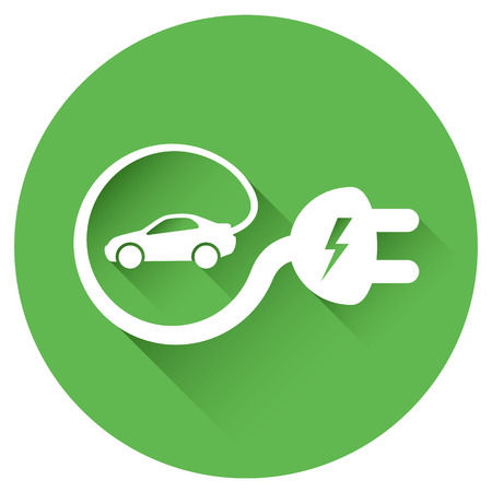 Isolated electric vehicle car charging sign with cable around it creating e-sign Banco de Imagens - 48803120
