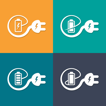 electricity cable: Electricity cable with plug bends around the battery and creates e-sign symbol