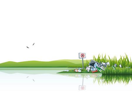reciclar basura: Ilustración vectorial de tirar basura en el verde de la naturaleza, cerca de la fuente de agua del lago o río. La basura se tira en la hierba aún no hay señales de tirar basura. Coloca el texto anterior.