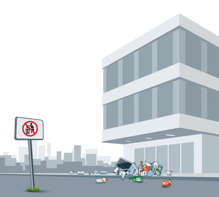 Vector illustration of littering in the city street in the front of the grey building with the cityscape in the background. Trash is thrown away even there is no littering sign.