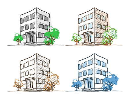 house with style: Four outline building freehand drawings doodle sketch with shading and hatch. Line width easy to change.