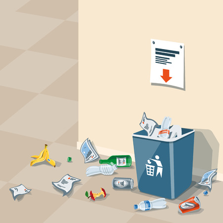 Illustration of littering waste that have been disposed improperly, without consent, at an inappropriate location around the dust bin near wall in interior. Garbage can is full of trash. Trash is fallen on the ground. Ilustração
