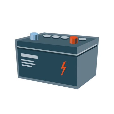 alternator: Vector illustration of grey isolated used electric battery for car with red high voltage flash sign in cartoon style.