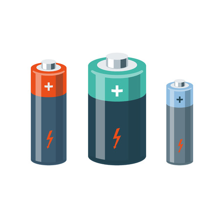 Vector illustration of isolated cylinder batteries in cartoon style. 向量圖像