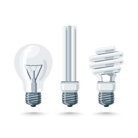 compact fluorescent lightbulb: Vector illustration of isolated light bulbs in cartoon style. Incandescent and fluorescent energy saving light bulbs. Illustration