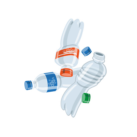 Vector illustration of isolated empty used plastic bottles on white background in cartoon style. Vectores