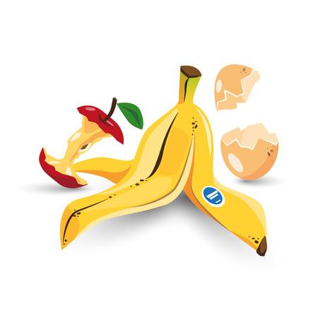 Vektor-Illustration von isolierten Lebensmittel Müll organischen Müll mit Bananenschale, Apfelkern und Eierschale im Cartoon-Stil.