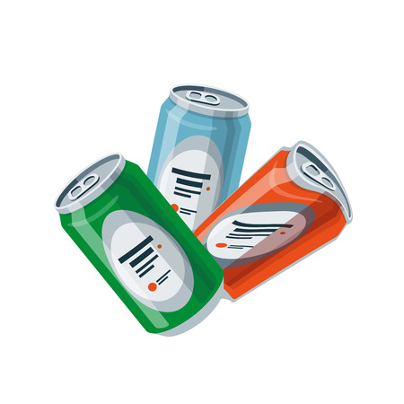 Vector illustration of isolated crushed tin cans in cartoon style.