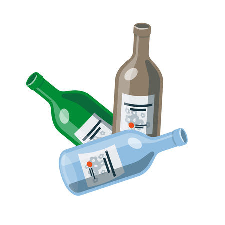 recycling bottles: Vector illustration of isolated opened glass bottles in cartoon style. Illustration
