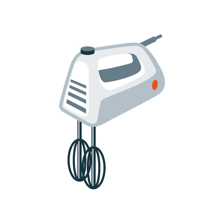 kitchen cooking: Vector illustration of isolated home kitchen hand mixer in cartoon style.