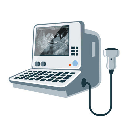 Vector illustratie van geïsoleerde medische echografie sonogram diagnostische machine met embryo op het scherm in cartoon stijl. Vector Illustratie