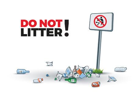 Illustrazione vettoriale del littering vicino al cartello No littering la creazione di rifiuti dell'isola. Posizionare il testo.