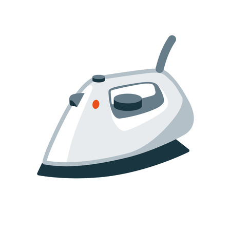Steam iron: Vector illustration of isolated steam clothes iron in cartoon style.