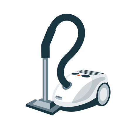 household goods: Vector illustration of isolated modern greay silver vacuum cleaner in cartoon style on white background. Illustration