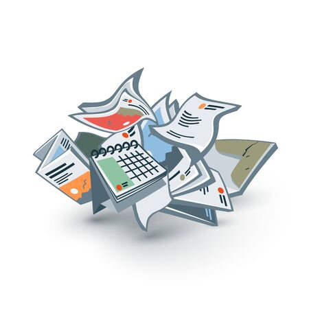 disposed: Vector illustration of isolated paper letter documents trash waste garbage in cartoon style.