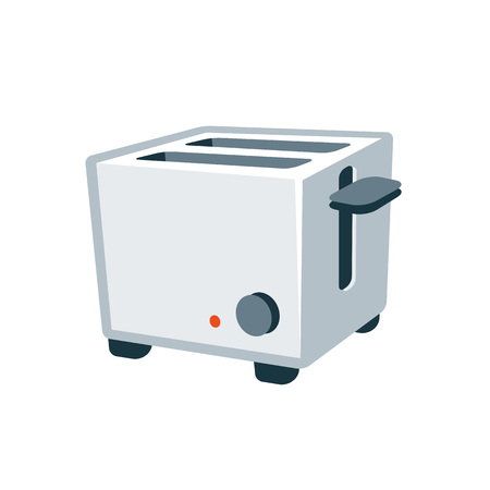 kitchen cartoon: ilustraci�n vectorial de color gris plata aislado tostadora moderna en estilo de dibujos animados. Vectores