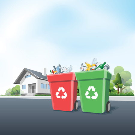 Vector illustration of full recycling trash bins containers in front of the residential house on the street. Waste segregation management concept.