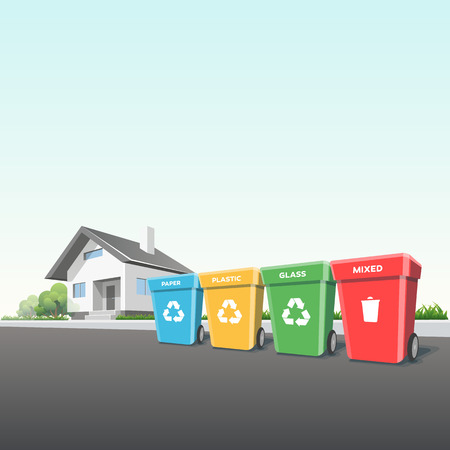 segregation: Vector illustration of recycling trash bins containers in front of the residential house on the street. Municipal waste segregation management concept.