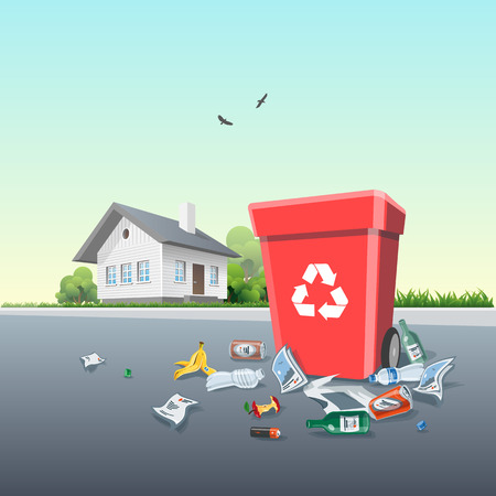 Vector illustration of littering waste that have been disposed improperly, without consent, at an inappropriate location around the dust bin on the street exterior in front of the residential house. Garbage can is full of trash. Trash is fallen on the gro Vectores