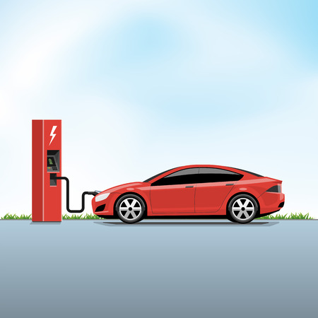 Flat vector illustration of a red electric car charging at the power station side view. Electromobility e-motion concept.